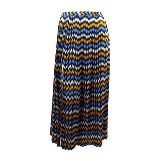MICHAEL Michael Kors Women's Pleated Ikat Skirt (S, Vintage Yellow/Oxford Blue) - S