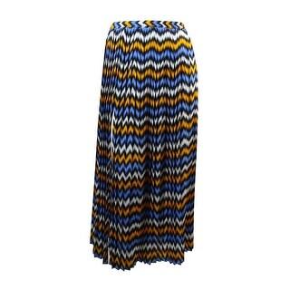 MICHAEL Michael Kors Women's Pleated Ikat Skirt (S, Vintage Yellow/Oxford Blue) - vintage yellow/oxford blue - S