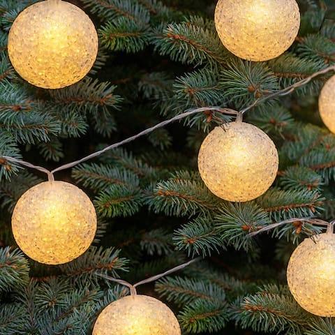 Solar LED Snowball Ornament String Lights