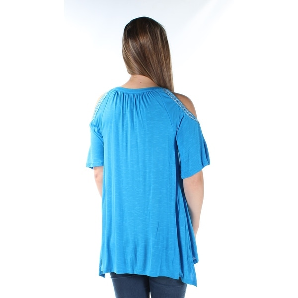 a3c45be6991 Shop INC Womens Blue Beaded cut out shoulder Short Sleeve Keyhole Hi-Lo Top  Size  S - On Sale - Free Shipping On Orders Over  45 - Overstock.com -  21310209