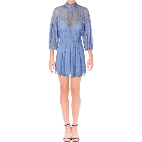 Free People Womens Mini Dress Lace Overlay Mock Neck