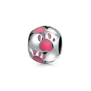 Bling Jewelry Round Pink Enamel Animal Paw Print .925 Sterling Silver