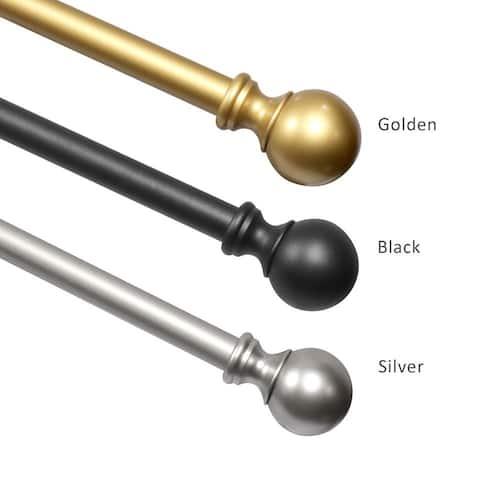"Window Curtain Rod - Kichae 1"" Curtain Rod with End Cap Finials - Silver/Gold/Black"