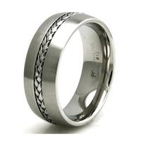 8mm Stainless Steel Satin/Polish Finish Braided Knot Inlay Design Ring