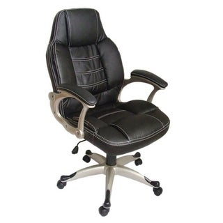 vidaXL Black Office Chair High Back Real Leather