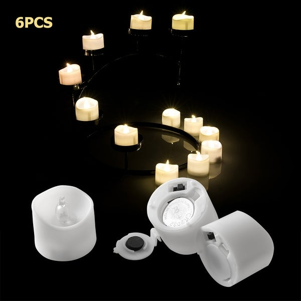 Image 6PCS Flameless LED Tealight Light Candles Flickering Flashing Battery Operated Warm White
