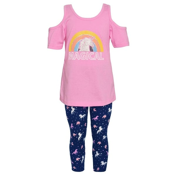 a5845681e0e3e Little Girls Pink Cold-Shoulder Rainbow Unicorn 2 Pc Leggings Outfit