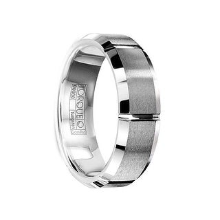 FABRICIUS Tungsten Carbide Wedding Band with Brushed Center & Horizontal Grooves by Crown Ring - 7mm