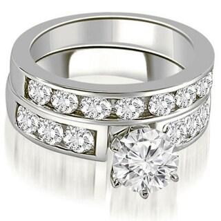 2.71 CT.TW Classic Channel Set Round Cut Diamond Bridal Set in 14KT - White H-I