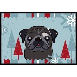 Carolines Treasures BB1759JMAT Winter Holiday Black Pug Indoor & Outdoor Mat 24 x 36 in.