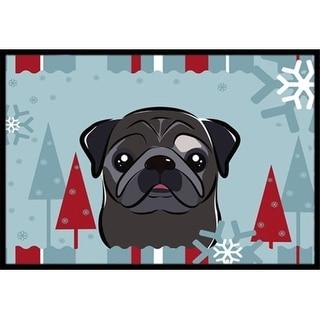 Carolines Treasures BB1759MAT Winter Holiday Black Pug Indoor & Outdoor Mat 18 x 27 in.