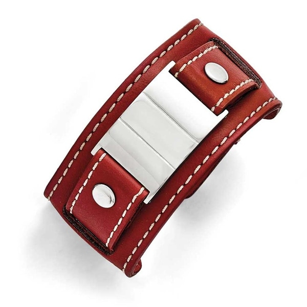 Chisel Stainless Steel Red Leather Polished/Brushed Buckle Bracelet