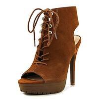 Bar III Womens Emiko Leather Open Toe Platform Pumps