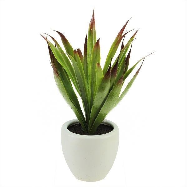 """13.5"""" Artificial Green and Red Agave Succulent Plant in a Decorative White Pot"""