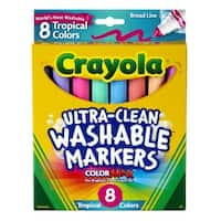 Crayola Non-Toxic Washable Marker Set, Conical Tip, Assorted Tropical Colors, Set of 8