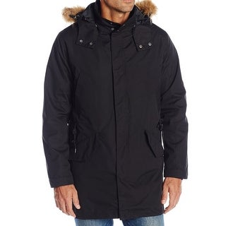 Cole Haan Black Mens Size Small S Faux-Fur 3-In-1 Anorak Jacket