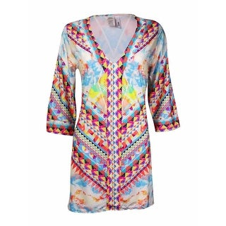 Bar III Women's Printed Pattern V-Neck Coverup - multi