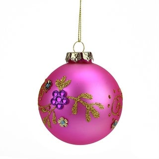 "3"" Matte Bubblegum Pink Floral Glittered Glass Ball Christmas Ornament"