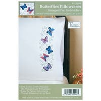 "Stamped Pillowcase Pair For Embroidery 20""X30""-Butterflies"