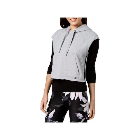 Calvin Klein Performance Womens Pullover Top Hooded Cropped
