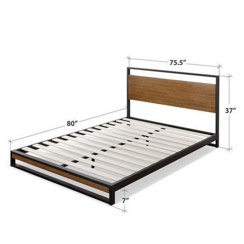 Carbon Loft Sollana Metal and Wood Platform Bed with Headboard