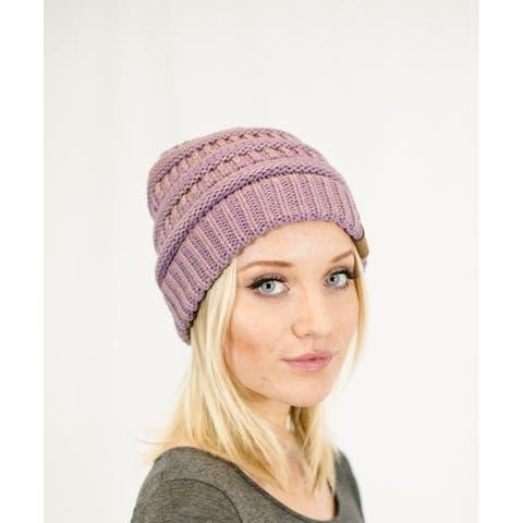 Unisex Soft Stretch Knit Slouchy Beanie (Two Toned- Lilac/Dk Beige)