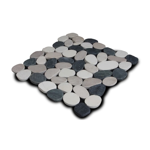 Miseno MT-S3PBWT Flatten Pebble Natural Stone Mosaic Tile (10.12 SF / Carton) - black/white/tan - N/A