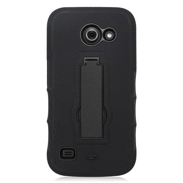 Insten Symbiosis Dual Layer Hybrid Stand Rubber Silicone/ PC Case Cover For Huawei Tribute 4G LTE