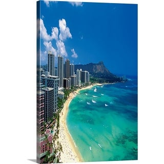 """Aerial view of Waikiki Beach, Honolulu, Oahu, Hawaii, USA"" Canvas Wall Art"