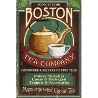 Boston, MA - Boston Tea Vintage Sign - LP Artwork (100% Cotton Towel Absorbent)