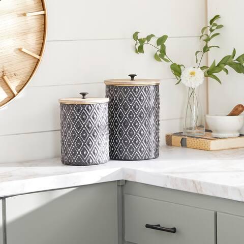 Black Iron Farmhouse Decorative Jar (Set of 2) - 8 x 8 x 11