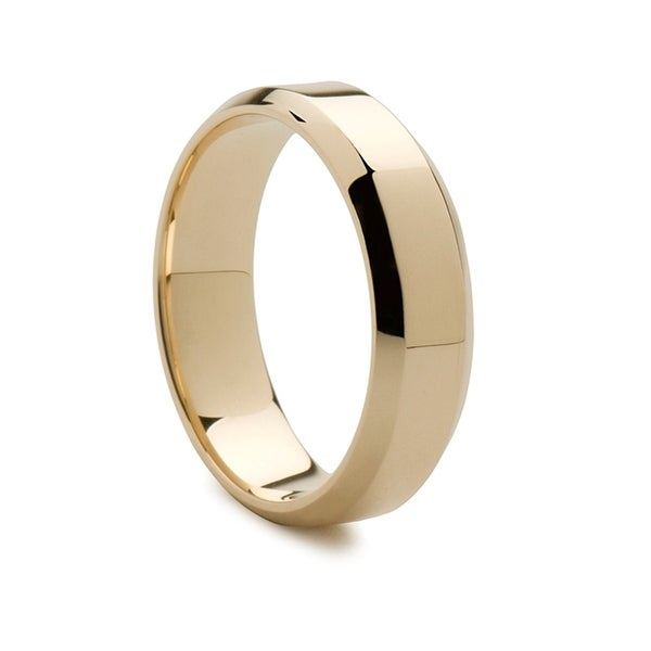 154553bc4e170 14k Yellow Gold Flat Wedding Band Polished Finish Beveled Edges - 7mm