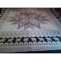 Handmade 100% Cotton Elephant Mandala Throw Tablecloth Spread  87x90 inches