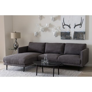 Riley Grey Fabric Upholstered Sectional Sofa w/Left Facing Chaise