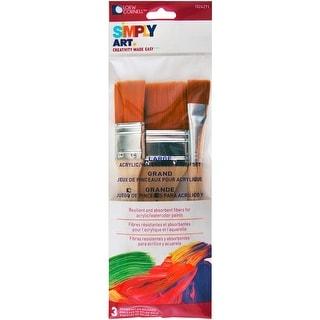 """Simply Art Large Nylon Flat Brush 3/Set-3/4"""", 1"""", & 2"""" - 3/4"""", 1"""", & 2"""""""