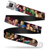 Street Fighter Logo Full Color Black Street Fighter Character Stance Poses Seatbelt Belt