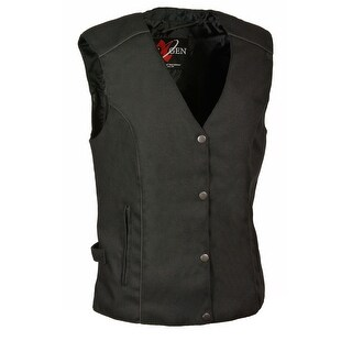 Womens Textile Snap Front Vest Wing Embroidery