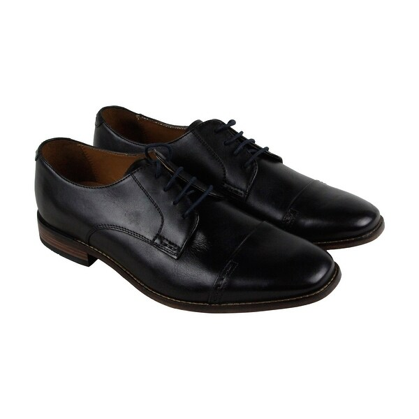 Bostonian Narrate Cap Mens Black Leather Casual Dress Lace Up Oxfords Shoes