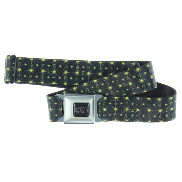Fantastic Beasts And Where To Find Them Icons Pattern Black/Gold Seatbelt Belt - Holds Pants Up