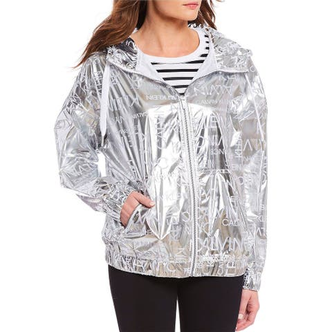 Calvin Klein Womens Plus Size Logo Hooded Windbreaker Jacket 2X Shiny Silver