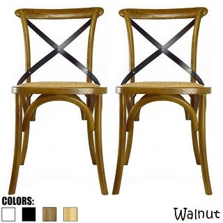 2xhome - Set of Two (2) - Antique Style Cross back Wooden Frame Dining Chair