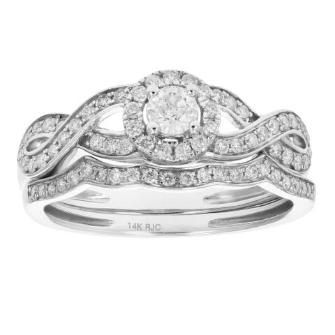 1/2 cttw Diamond Infinity Wedding Engagement Ring Set 14K Gold