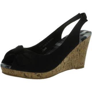 Bamboo Women's Wedge Sandals With Faux Cork Sole And Bow Design