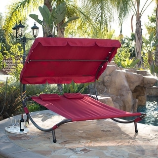 Belleze Swimming Pool Double Hammock Bed Sun Lounger Chaise Lounge Patio Outdoor, Burgundy