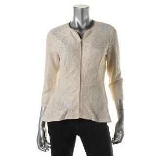 Onyx Nite Womens Metallic Lace Blazer