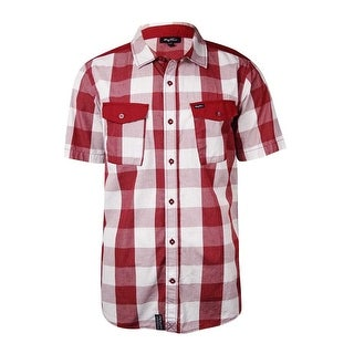 LRG Men's Grid Checkered Flap-Pockets Cotton Shirt - L