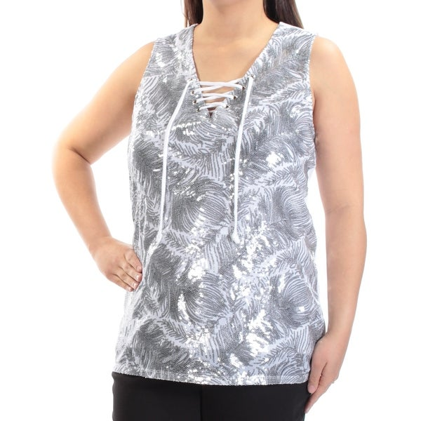 ad953c93906ae8 Shop INC Womens White Sequined Lace-up Sleeveless V Neck Wear To Work Top  Size: XL - Free Shipping On Orders Over $45 - Overstock - 21237017
