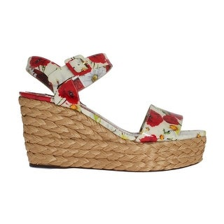 Dolce & Gabbana Floral Leather Straw Wedges Sandals