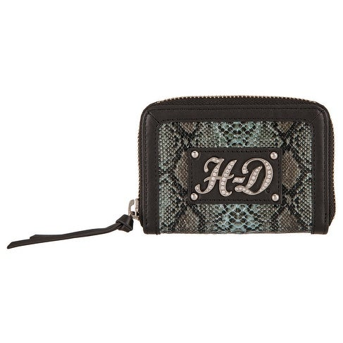 "Harley-Davidson Women's Snake Charmer Leather Zip-Around Wallet HDWWA11338-BLK - 4.75"" x 3.5"""