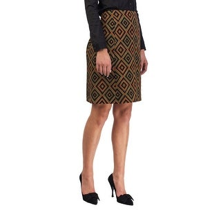Prada Women's Virgin Wool Geometric Print Skirt Green